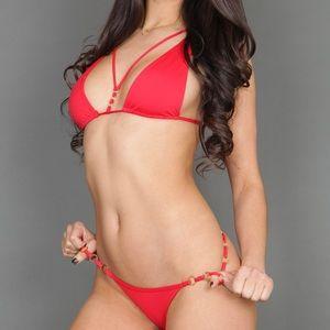 NWT Beach Bunny Red Bikini Top & Bottom
